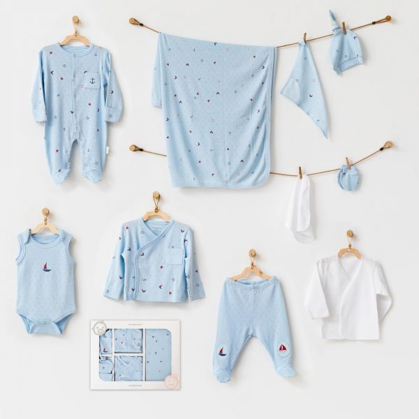 ANDYWAWA BEBEK HASTANE CIKISI 10 PCS NEWBORN SET THE SEASIDE LIFE ,AC21601_BLU